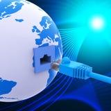 La connexion mondiale représente Lan Network And Computer Photo stock