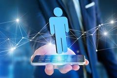 La connexion réseau avec des personnes s'est liée - le rendu 3D Image libre de droits