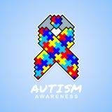 La conscience d'autisme avec le ruban carré abstrait de puzzle se connectent la conception bleue de vecteur de fond Images stock