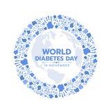 La conscience de jour de diabète du monde avec l'empreinte digitale bleue de mains font le cercle le signe diriger la conception illustration stock