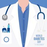 La conscience de jour de diabète du monde avec le mètre mesure le taux du sucre dans le sang et le stéthoscope sur le desig d'ill Photo libre de droits