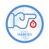La conscience de jour de diabète du monde avec la ligne main et sang laissent tomber le cercle de connexion et la conception bleu Photos stock