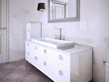 La console del lavandino in art deco ha disegnato il bagno Fotografie Stock