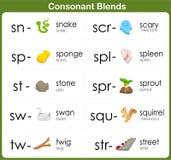 La consonante mezcla la hoja de trabajo para los niños Imagen de archivo libre de regalías