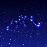 La constelación de acuario en el cielo estrellado de la noche Ejemplo del vector del concepto de astronomía Imágenes de archivo libres de regalías