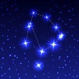 La constellation d'Ophiuchus dans le ciel étoilé de nuit Illustration de vecteur du concept de l'astronomie photographie stock