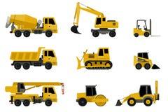 La construcción trabaja a máquina iconos Foto de archivo libre de regalías