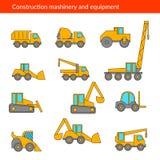 La construcción trabaja a máquina iconos finos Línea del vector de maquinaria del edificio Fotografía de archivo