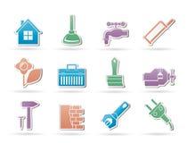 La construcción y lo hace usted mismo los iconos Fotos de archivo