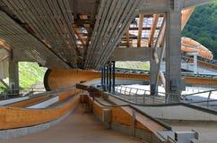 La construcción de Sanki Luge centro para las olimpiadas de invierno 2014 Foto de archivo