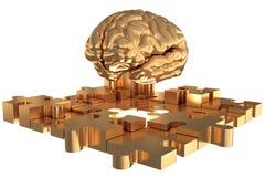 La construction absente d'or de cerveau de morceau de puzzle Images stock