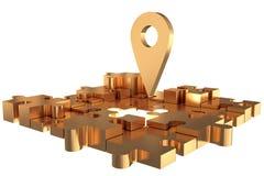 La construction absente locale d'or de morceau de puzzle Image stock