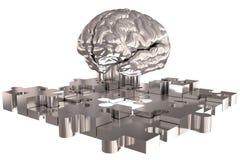 La construction argentée absente de cerveau de morceau de puzzle Photos libres de droits