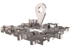 La construction argentée absente locale de morceau de puzzle Image stock
