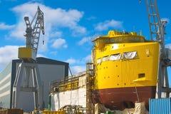 La construction d'un bateau neuf Photos stock