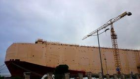 La construction d'un bateau neuf Photo stock