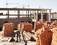 À la construction d'une construction Photo libre de droits