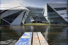 La construction moderne sous l'inondation de l'eau. Photo libre de droits