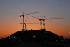 La construction neuve a lieu le matin à Astana Photographie stock libre de droits