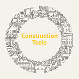 La construction usine la ligne Art Icons Set Circle Photo libre de droits