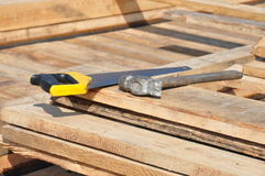La construction a vu la plate-forme d'industrie de panneaux de marteau Images stock
