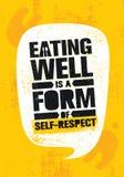 La consumición bien es una forma de amor propio Sano pierda la cita de la motivación de la nutrición de la forma de vida del peso ilustración del vector