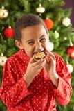 La consumición del muchacho pica la empanada delante del árbol de navidad Fotografía de archivo libre de regalías