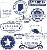 La contea di Beaver, PA, bolli generici e segni Illustrazione di Stock