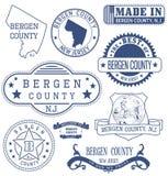 La contea di Bergen, NJ, bolli generici e segni illustrazione di stock