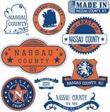 La contea di Nassau, New York Insieme dei bolli e dei segni Fotografia Stock Libera da Diritti