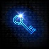 La contraseña de la llave y del código binario. Fondo del vector. Foto de archivo