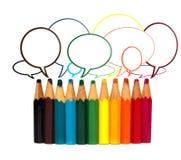 La conversación del lápiz coloreado Fotos de archivo libres de regalías