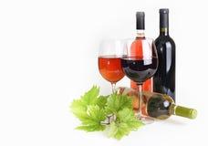 La copa, la botella de vino y las uvas hojean fotos de archivo