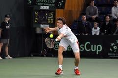 La Copa Davis, jugador de tenis Thomas Kromann en la acción Fotografía de archivo