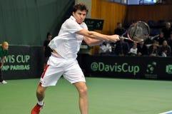 La Copa Davis, jugador de tenis Thomas Kromann en la acción Imagen de archivo