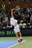 La Copa Davis, jugador de tenis Thomas Kromann en la acción Imágenes de archivo libres de regalías
