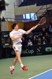 La Copa Davis, jugador de tenis Thomas Kromann en la acción Fotos de archivo libres de regalías