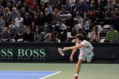 La Copa Davis, jugador de tenis Thomas Kromann en la acción Imagen de archivo libre de regalías