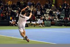 La Copa Davis, jugador de tenis Thomas Kromann en la acción Fotos de archivo