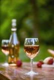 La copa de vino es el centro de la atención en el adoquín bastante al aire libre Foto de archivo libre de regalías