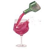 La copa de vino y la botella con salpica Imagenes de archivo