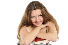 La copertura della donna con i capelli un radiatore anteriore ed orli fotografie stock