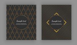 La copertura elegante di lusso con le progettazioni geometriche e l'oro d'avanguardia allinea sui precedenti neri Illustrazione d illustrazione di stock