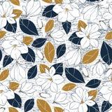 La copie botanique avec la magnolia fleurit, bourgeonne et part dans des couleurs profondes de bleu et de moutarde sur le fond gr Image libre de droits