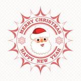 La copie de Noël avec Santa Claus de sourire font face avec les flocons de neige et le texte, illustration stock