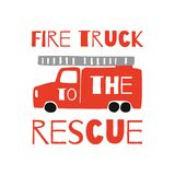 La copie de T-shirt d'enfants dirige le camion de pompiers Graphiques de T-shirt de garçons de vecteur dans le style de griffonna illustration libre de droits