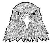 La copie noire et blanche d'aigle avec les modèles ethniques Livre de coloriage pour des adultes antistress Thérapie d'art Photographie stock