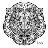 La copie noire et blanche de lion avec les modèles ethniques Livre de coloriage pour des adultes antistress Thérapie d'art Photos libres de droits