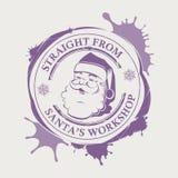 La copie violette de Noël avec une silhouette de Santa Claus font face avec des taches illustration de vecteur