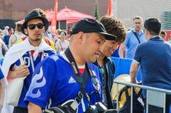 La coppa del Mondo 2018 della FIFA I fan giapponesi vanno all'area del fan sul quadrato rosso Fotografie Stock Libere da Diritti